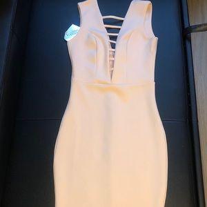 NWT ASOS Godiva blush cutout dress size 4
